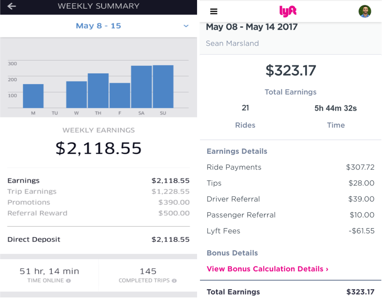 Uber Car Seat >> Uber & Lyft Income Reports: May 8th - May 14th - Six Figure Drivers